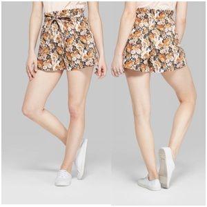 NWOT High Paper bag Waist Floral Shorts